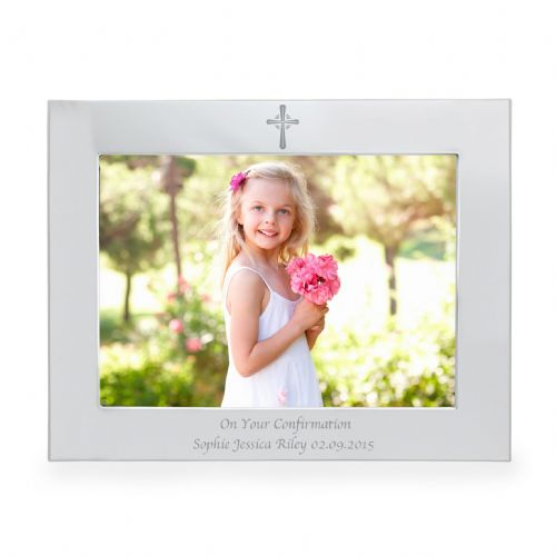 Personalised Silver 5x7 Landscape Cross Frame Personalised